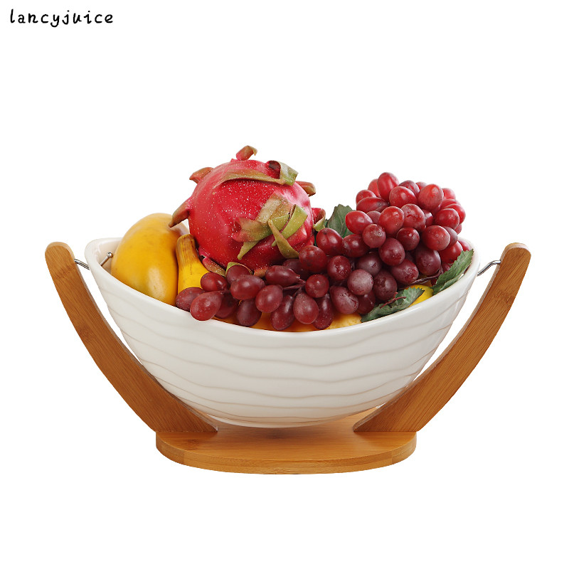 Porcelain Fruit Plate with Rack Bamboo Ceramic Cradle Dinner Plate Decorative Tableware and Salad Ornament Craft -in Dishes u0026 Plates from Home u0026 Garden on ...  sc 1 st  AliExpress.com & Porcelain Fruit Plate with Rack Bamboo Ceramic Cradle Dinner Plate ...