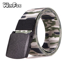 Winfox Fashion Camouflage Canvas  Male Belt Plastic Automatic Buckle Men Army Military Tactical Nylon Waist Belts military tactical nylon shotgun belt camouflage light gray