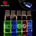 Nuevos Coches Logo USB Flash Drive 4 GB 8 GB 16 GB 32 GB 64 GB Rojo/Azul/la luz LED verde, transparente de Cristal de Metal USB, INSIGNIA de Encargo del disco de U