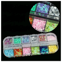 12 Colores de Uñas de Los Rhinestones de Acrílico Del Arte Del Clavo Decoración 12 Grids Diseño largo Para Gel UV Teléfono Móvil y el Ordenador Portátil DIY accesorios