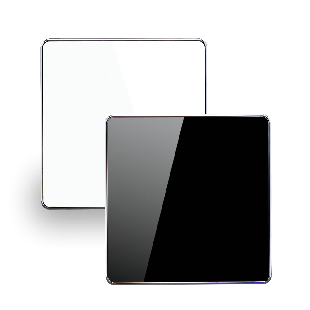 Luxury Glass Surface Home Hotel White / Black Color Blank Decorative Cassette Cover Plate 86mm Square Wall Panel