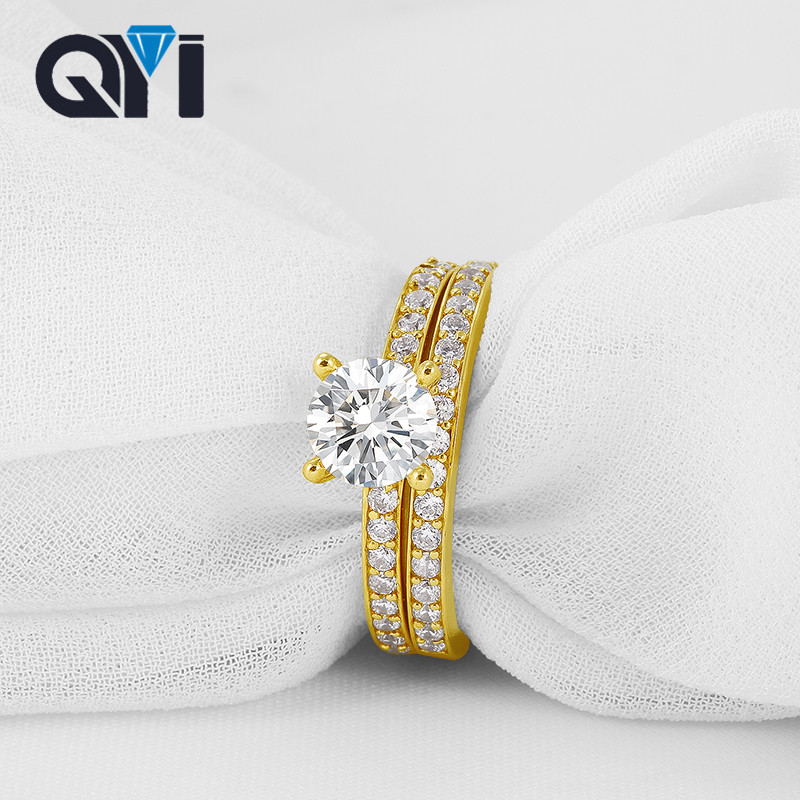 QYI Solid 10K Yellow Gold Solitaire Engagement Ring Sets Round Cut 1ct Simulated Diamond  Anniversary Wedding bands For Women