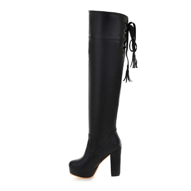 Hiver De Talon À Bottes Hauteur Femmes Noir Genou Chaussures Mode Hauts Épais Sexy Automne Talons Du BgdqB