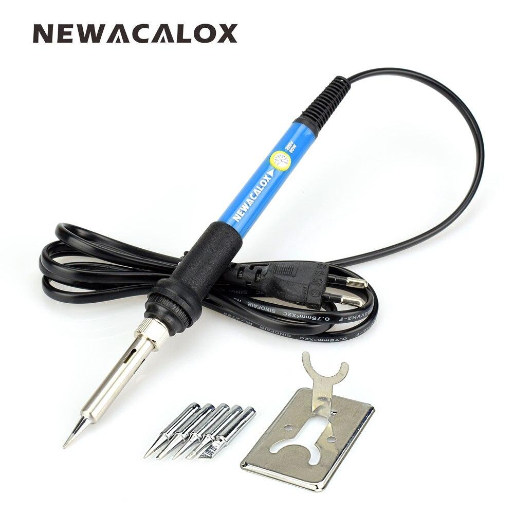 NEWACALOX soldador eléctrico SMD herramienta de reparación de soldadura pistola de soldadura de temperatura ajustable 5 piezas punta unids de soldadura Enchufe europeo 220 V 60 W