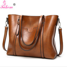 TAKEM Women Shoulder Bag Handbags Women's Oil Wax PU Leather Large Capacity Casual Tote Bags Female Messenger Bag Daily Handle