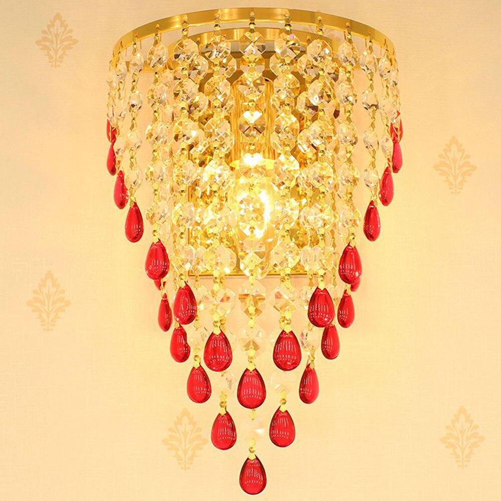 Золотой ТВ Задний план Хрустальное яйцо висит настенные светильники Спальня тумбы коридор роскошный бра Европейский Гостиная бра
