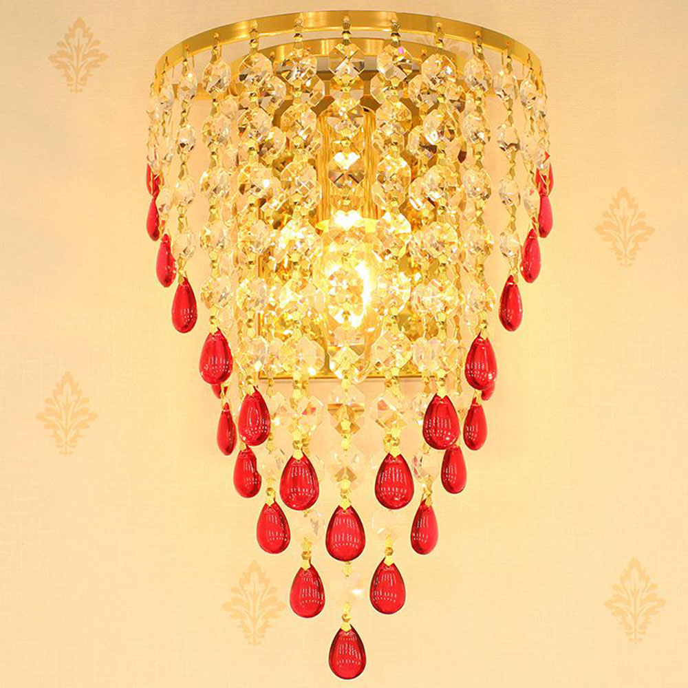 Golden TV Background Crystal Egg Hanging Wall Lights Bedroom Bedsides Corridor Luxury Wall Sconce European Living Room Wall lamp european luxury crystal double head wall lamp bedroom living room tv background wall american retro wall lamp free shipping