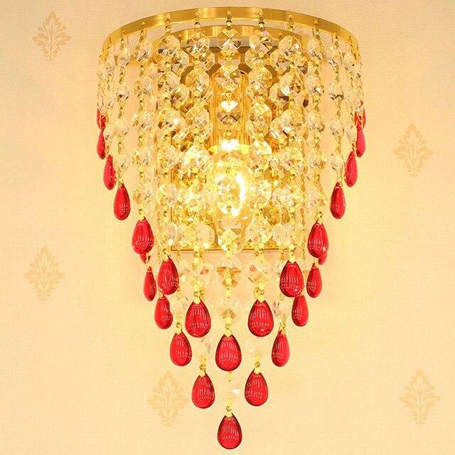 Golden TV Background Crystal Egg Hanging Wall Lights Bedroom ...