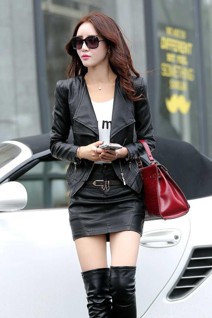 2015 Korean Short Coat Style Leather Jacket Women Slim Biker Zipper