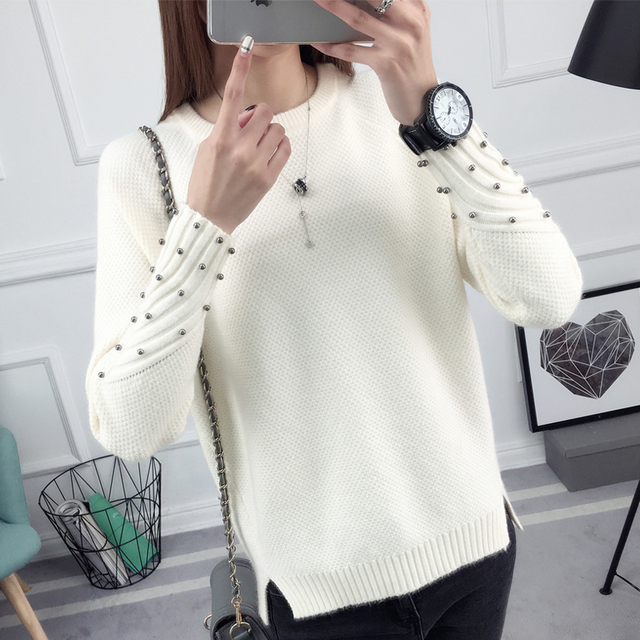 2017 Autumn Fashion Women Character Beading Long Sleeve Pure Color Knitting Sweater Casual Elegant Split Ladies Pullover Sweater