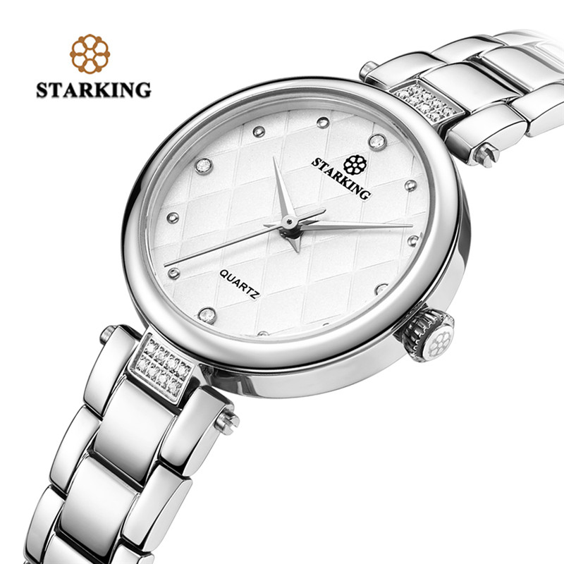 STARKING New Arrival 2018 Fashion Simple Bangle Quartz Watch Women Crystal Analog Stainless Steel Bracelet Clasp Clock Gifts women steel bangle wrist crystal round dial analog digital bracelet watch new hot selling
