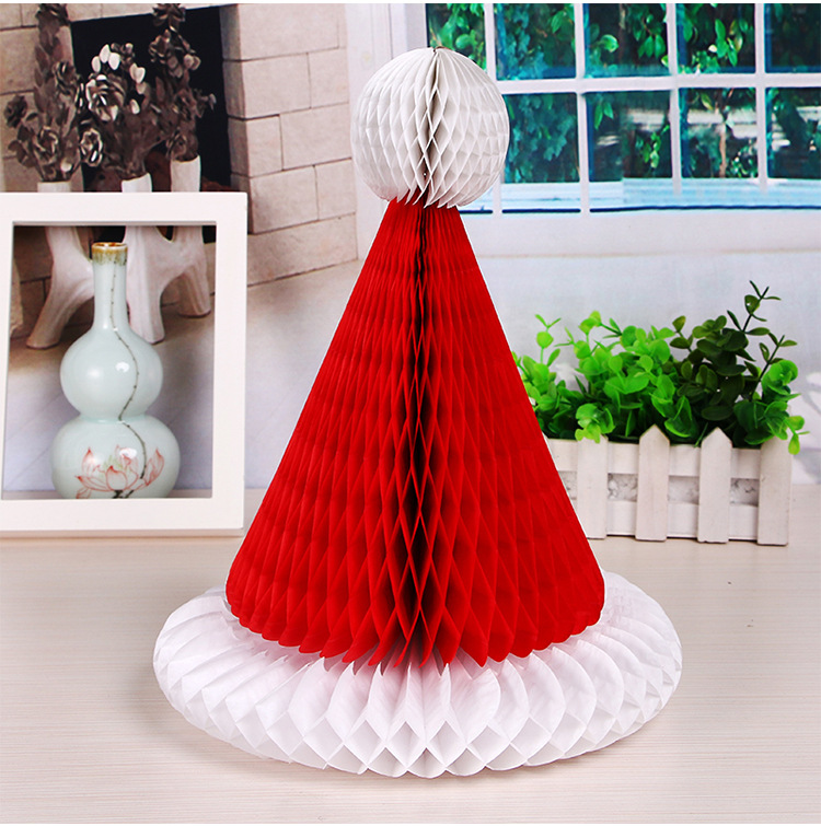 10pcs 12inch Tissue Paper Christmas Hat Honeycomb Balls Paper Craft