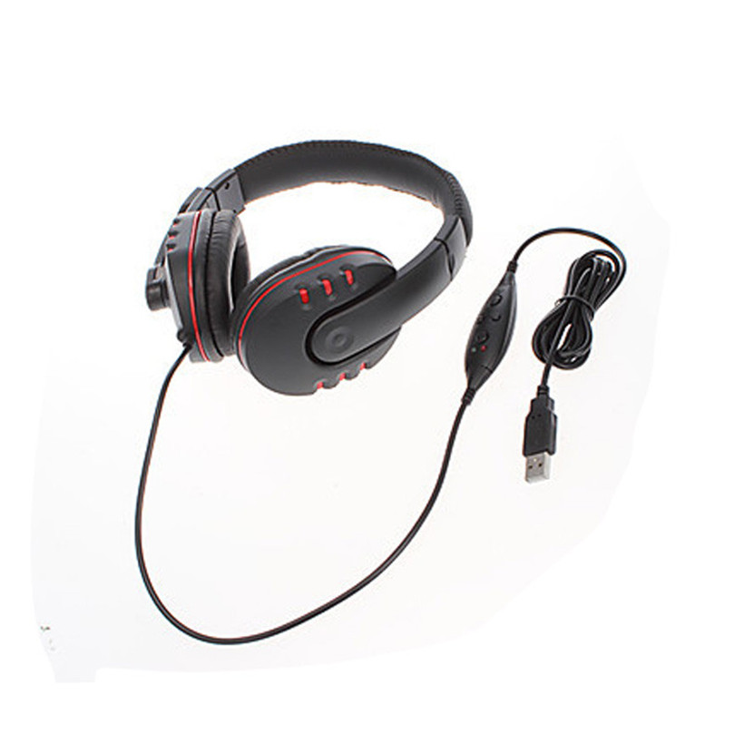 Advanced 2017 New Headset Black+Red New USB Wired Stereo Micphone Gaming Headphone For Sony PS3 for PS4 PC Drop Shipping