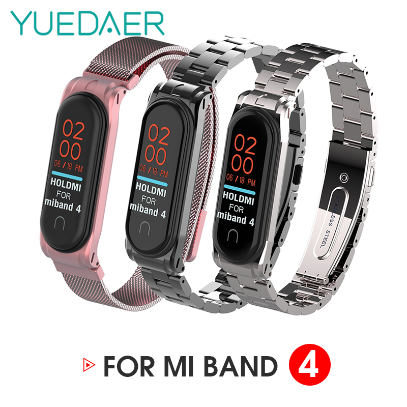 YUEDAER Mi Band 4 Strap Metal For Xiaomi Mi Band 4 Strap Stainless Steel Bracelet Mi Band 4 Wrist Straps Milanese Loop Mi Band4