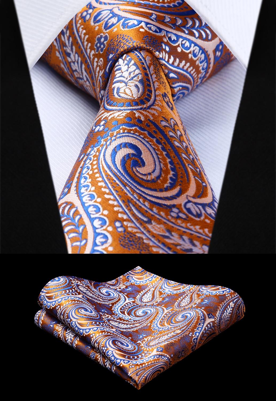 Woven Men Tie Orange Blue Paisley Necktie Handkerchief Set# TP943D8S  Party Wedding Classic Pocket Square Tie