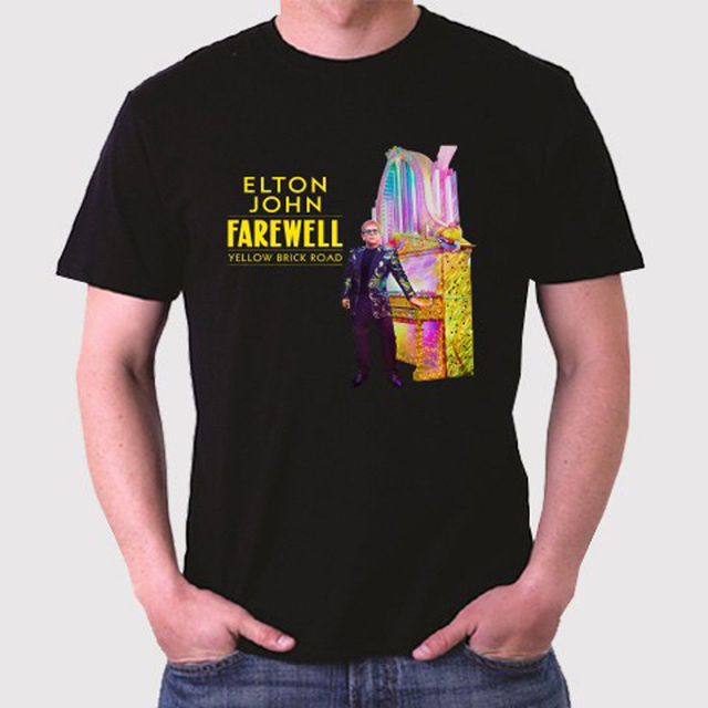 86a582298f1 New Elton John Farewell Yellow Brick Road Men s Black T-Shirt Size S to 3XL  O-Neck Oversize Style Tee Shirts Styles