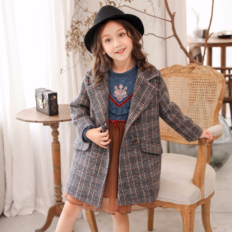 Fashion Winter Girl Coat Striped Plaid Woolen Coat Dark Green Autumn Children's Clothes Comfortable Casual Girl's Clothing plus contrast striped coat