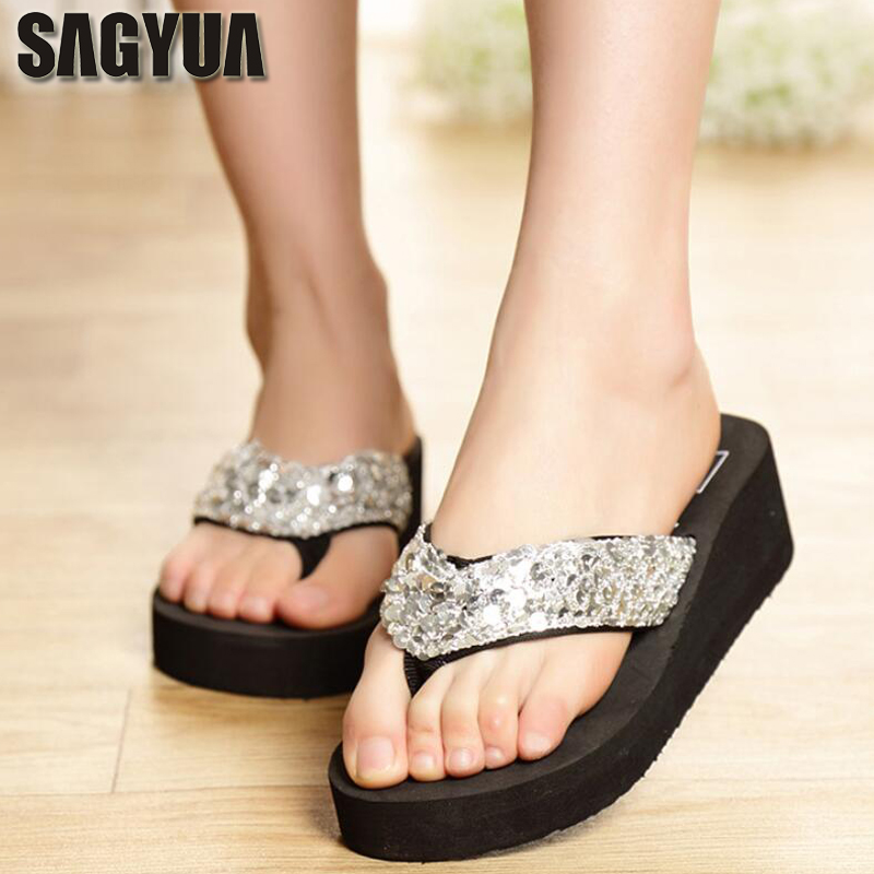 SAGYUA New Summer Women Paillette Casual Flip-Flops Babouche House Thong Wedge Slippers Slides Mules Slides Plus Size Shoes T241
