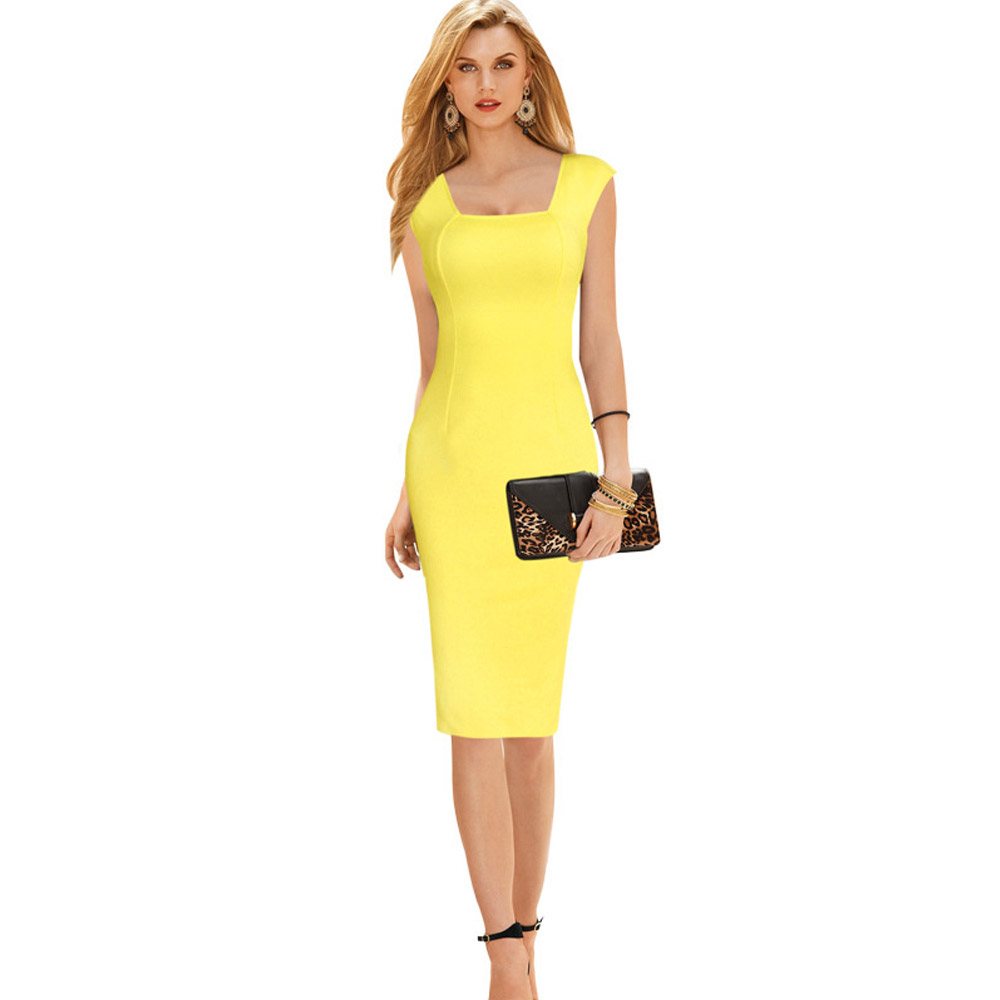91ce55d4e27 Free Shipping Bright Color Sexy Mid Calf Summer Dress Size Available  Sleeveless Bandage Bodycon Women Dress