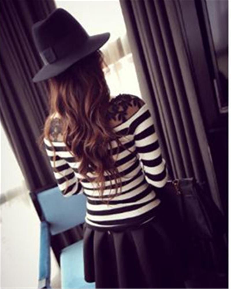 HTB1RjPNJXXXXXaeXpXXq6xXFXXX6 - Blusa black white striped blouse shirts long sleeve