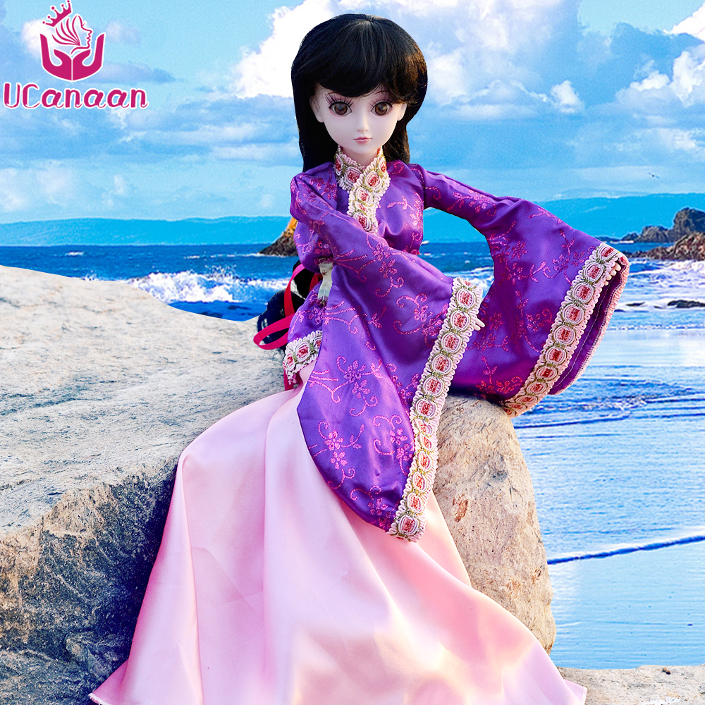 UCanaan 60CM Chinese Style Girl BJD Doll Reborn Beauty Lifelike SD Toys For Girls 19 Ball Jointed BJD Dolls With Dress Wigs Eyes handmade ancient chinese dolls 1 6 bjd jointed doll empress zhao feiyan dolls girl toys birthday gifts