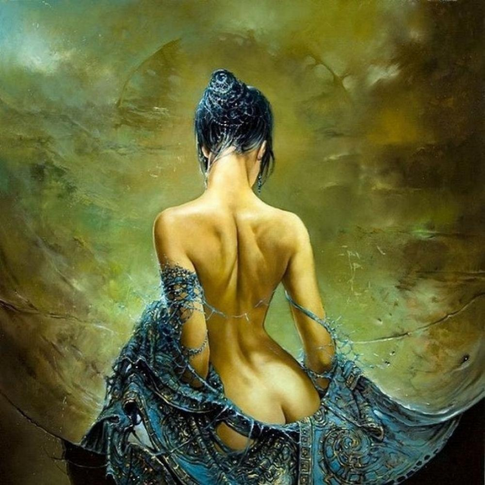 Handpainted Sexy Lady Angel Naked Oil Painting on Canvas Nude Wall Art Pictures for Living Room Home Salon Decor High Quality