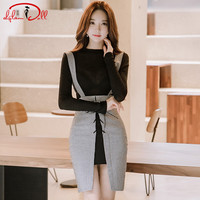 2018 Autumn Two Pieces Sets Black Brief Knitted Sweater Top Slim Bodycon Mini Sexy Tie Strap