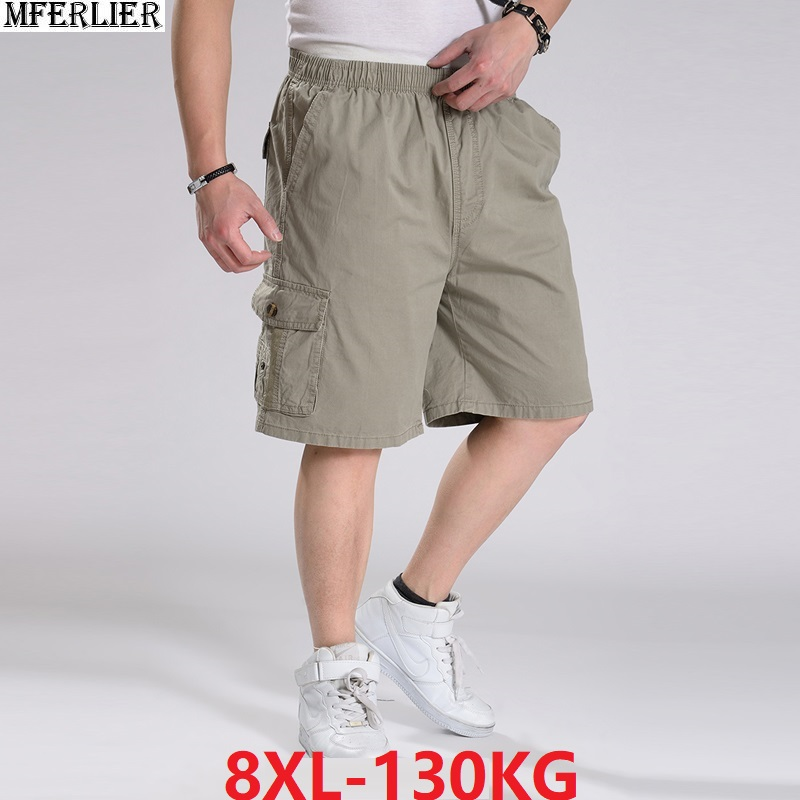 Summer Men Large Size Big 8XL Safari Style Cargo Shorts Pocket 10XL Stretch Out Door Casual Home Loose Shorts Cotton 130KG 6XL