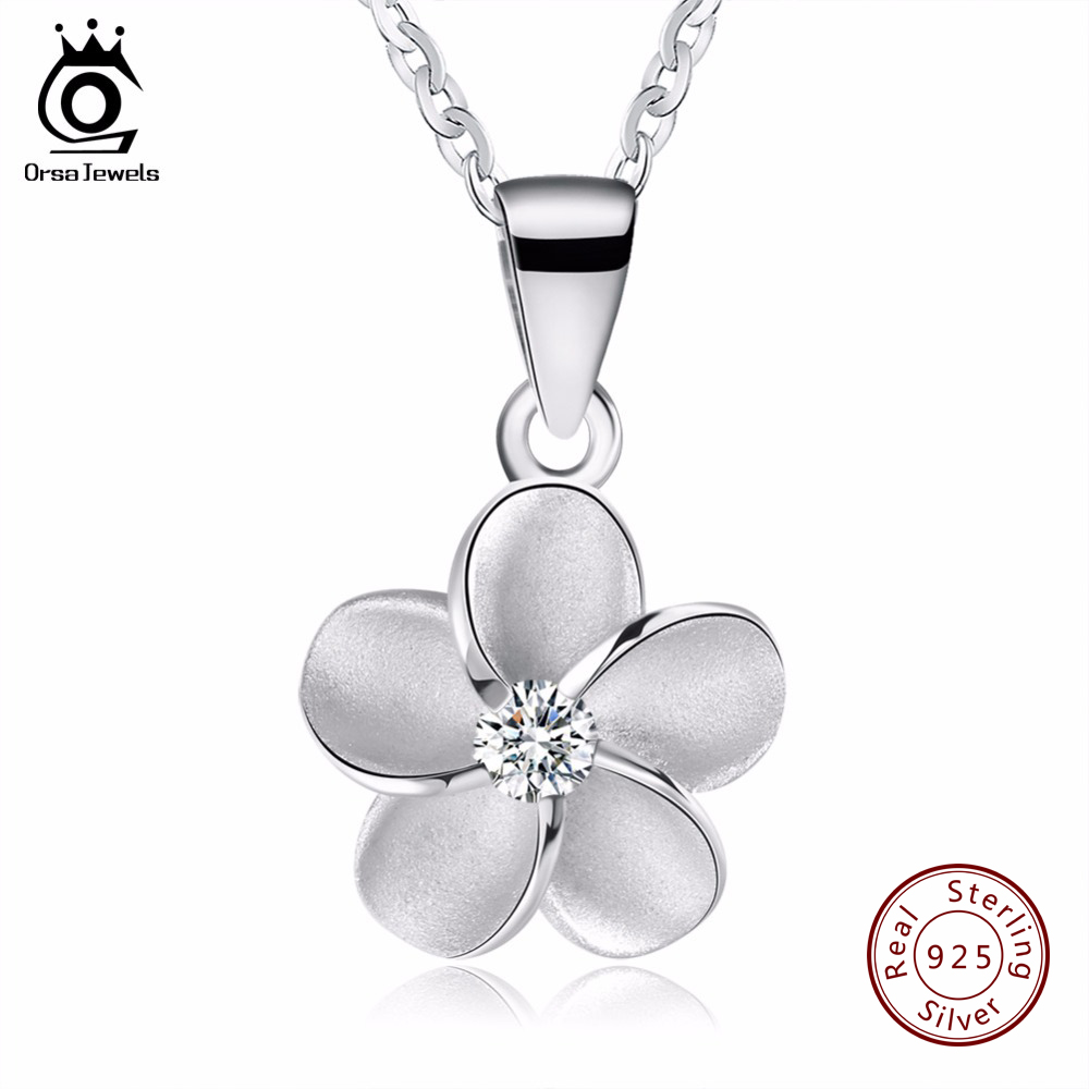 ORSA JEWELS High Quality Original 925 Sterling Silver Flower Pendants Necklaces Fashion Women font b Jewelry
