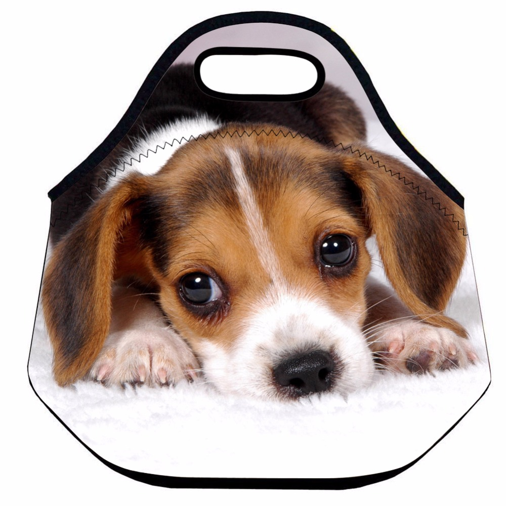 Cute Dog Lunch Bag for Kids,Animal Insulated Lunch Bag for Women Men,Neoprene Thermal Lunch Bag,School Lunch Picnic Food Bag