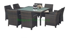 Outdoor new wicker dining furniture set with tempered glass and cushion