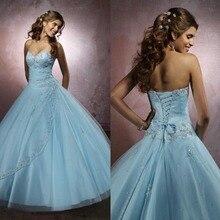Светло-голубое праздничное платье новое поступление Платье милое Бисероплетение милое бальное платье 16 лет одежда