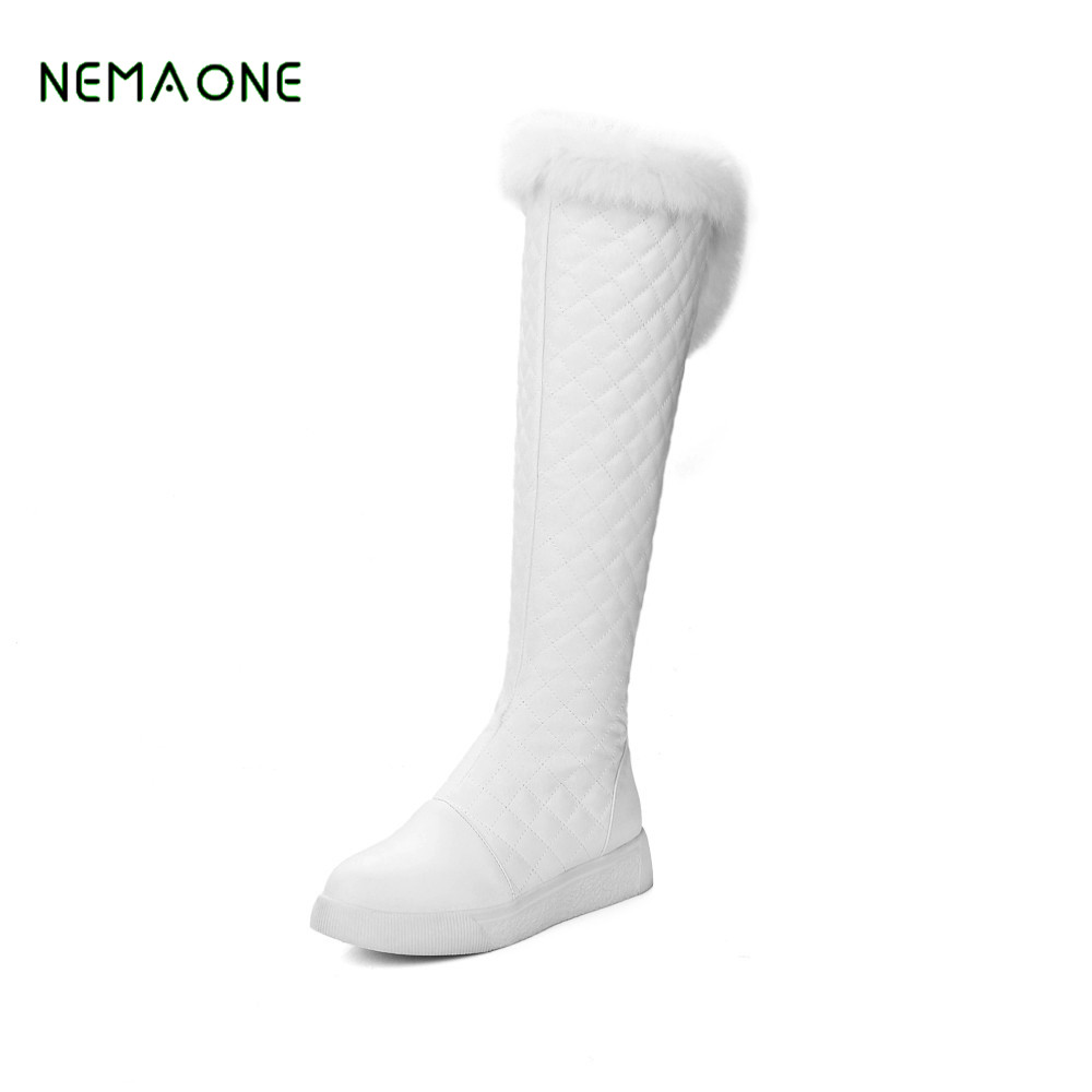 NEMAONE 2019 Cotton fashion waterproof snow boots women's knee high boots flat winter boots platform fur shoes women white new cotton fashion waterproof snow boots women s knee high boots flat winter boots platform fur shoes women size 34 43