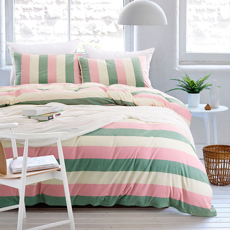 Buy stripe bedding set washed cotton for Housse duvet