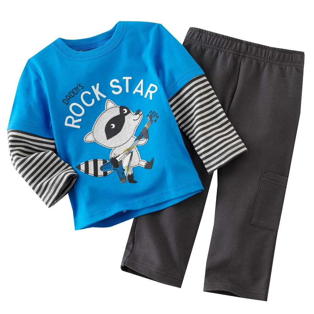 Racoon Childrens clothes Sets Baby Outfits BLUE Boys Suits Sets Baby Boys Clothes ROCK STAR