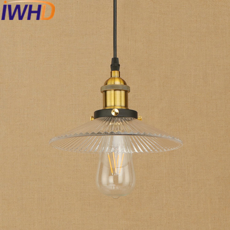 IWHD American Style Iluminacion Glass Vintage Pendant Lights Loft Industrial Vintage Hanging Lamp Bedroom Kitchen Light Fixtures