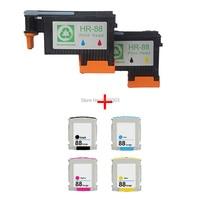 2x Remanufactured HP 88 C9381A C9382A Printhead Print Head 4PCS Ink Cartridge Compatible HP K550 K5400