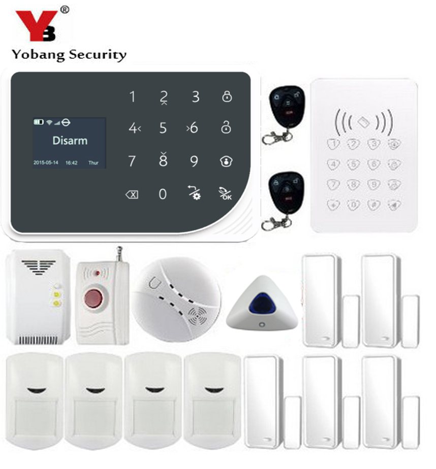 YoBang Security 433MHZ WIFI GSM Alarm System App Of Remote Control Home Security Alarm System Wild Boar Gas Smoke Fire Sensor.