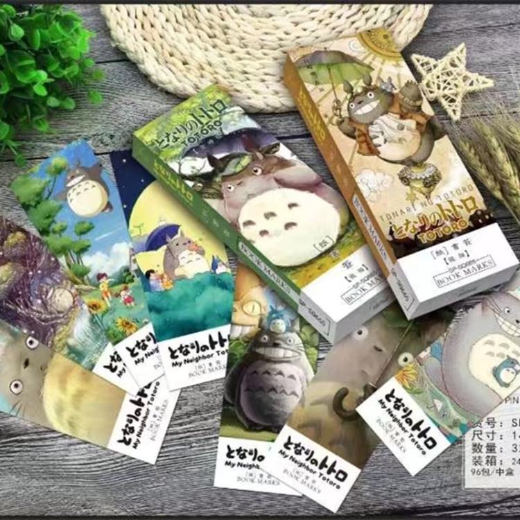 32pcs/pack Creative Cartoon Totoro Comic Bookmark Paper Cute Cartoon Animals Bookmark Promotional Gift Stationery Film Bookmark