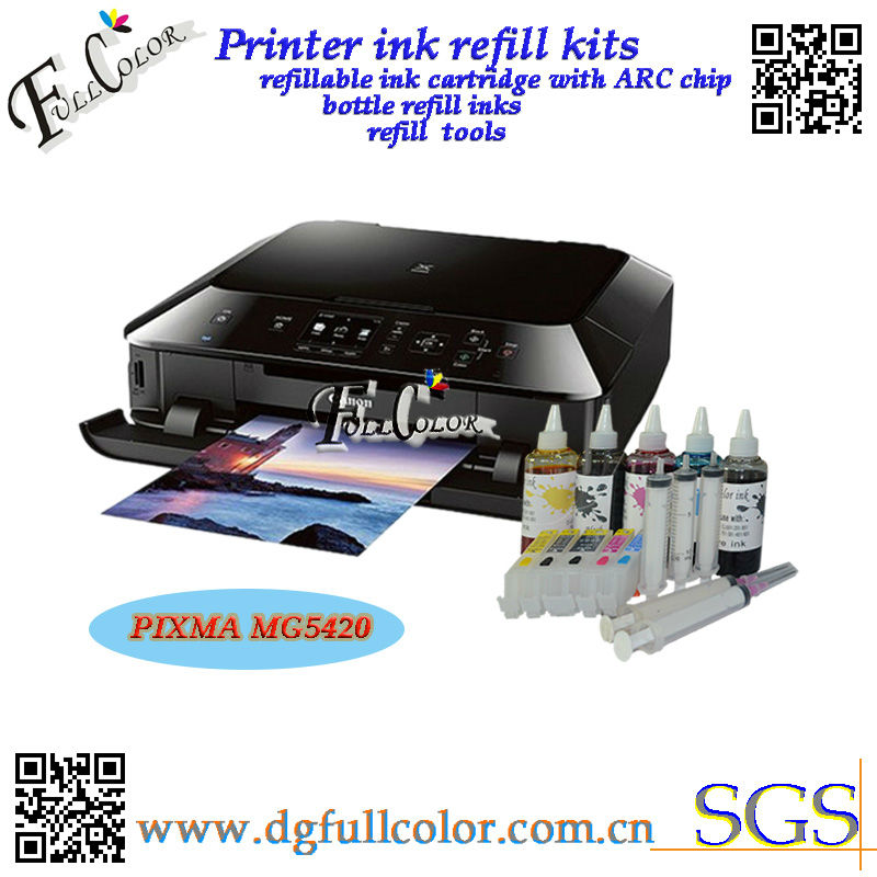 Free shipping  CISS Cartridge with bottle refill ink for canon PIXMA MG5420 printer ink refill kits pg250 cl251 free shipping compatible cli651 ciss full of inks for canon pixma mg5460 pixma ip7260 printer ciss with arc chip 5color set