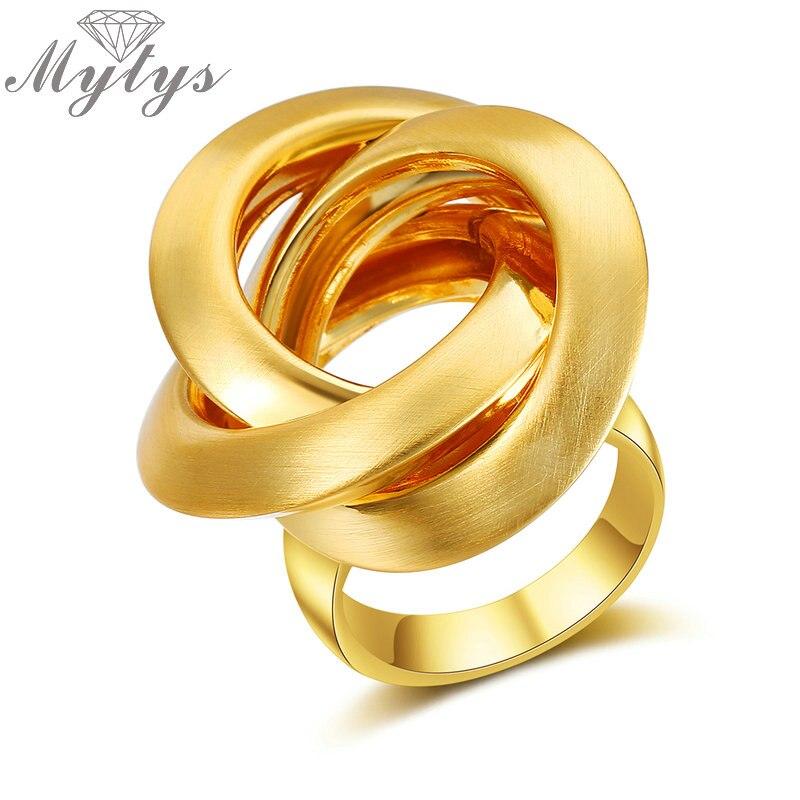 Myty Neue Mode Geometrische Gold Ring für Frauen Kreise Surround Kreuz Design Metall Ringe Finger Schmuck R1986 R1987