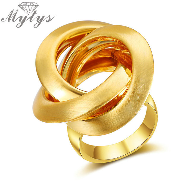 Myty New Fashion Geometric Gold Ring for Women Circles Surround Cross Design Met