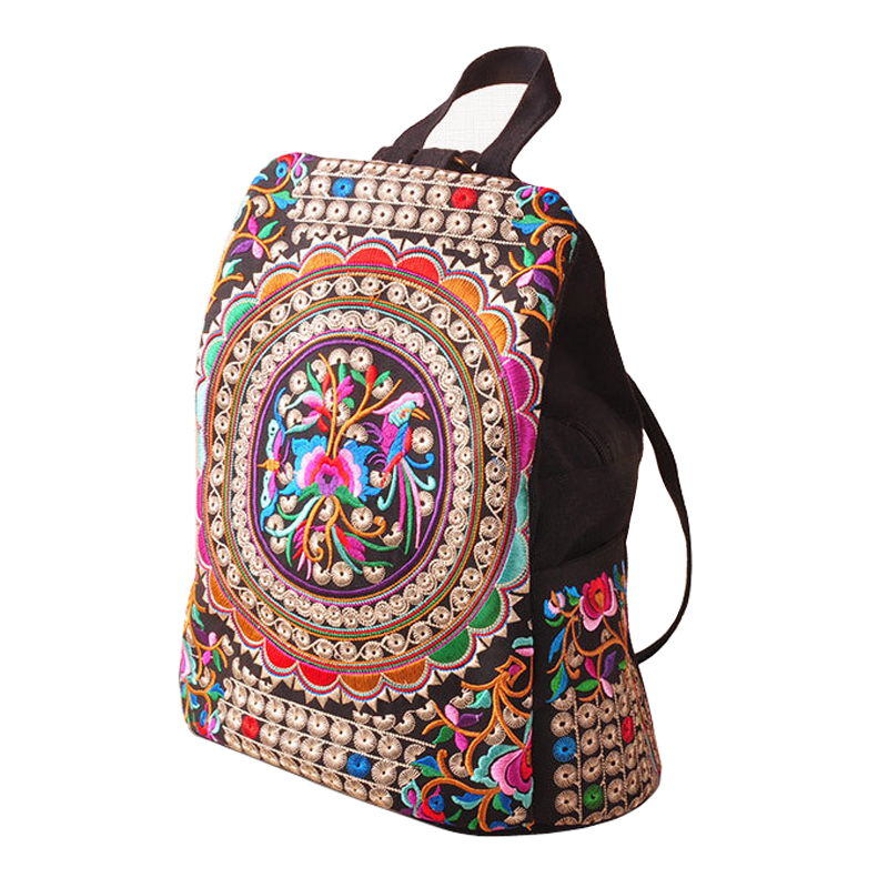LACATTURA Canvas Backpacks Student School Backpack Bags Teenagers National Embroidery Mochila Rucksack Travel Daypack Women Sac 13 laptop backpack bag school travel national style waterproof canvas computer backpacks bags unique 13 15 women retro bags
