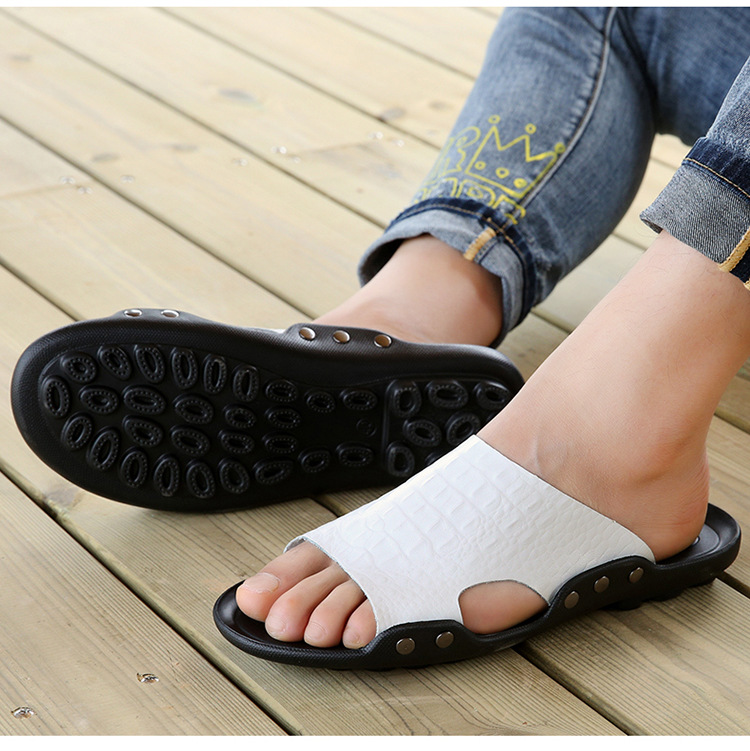 2018 New Men Genuine Leather Holiday Beach Shoes Flip Flops Men`s Casual Flat Shoes Sandals Summer Slippers For Men (14)