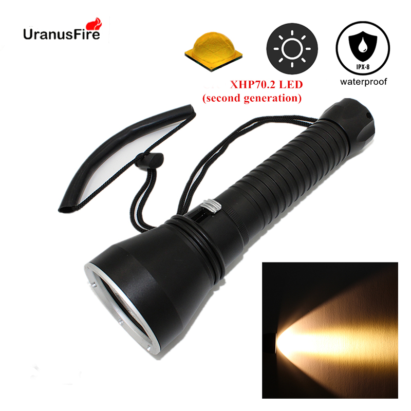 Yellow light XHP70 2 LED dive light 4000 lumen diving flashlight 26650 torch underwater tactical hunting
