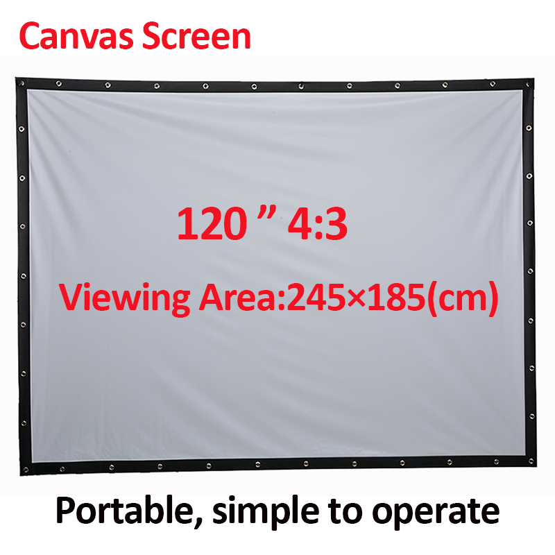 PHIKER Factory sales 120 inch 4:3 Projector HD Screen Portable Folded Front projection screen fabric eyelets without Frame Stand fast free shipping 100 4 3 tripod portable projection screen hd floor stand bracket projector screen matt white factory supply