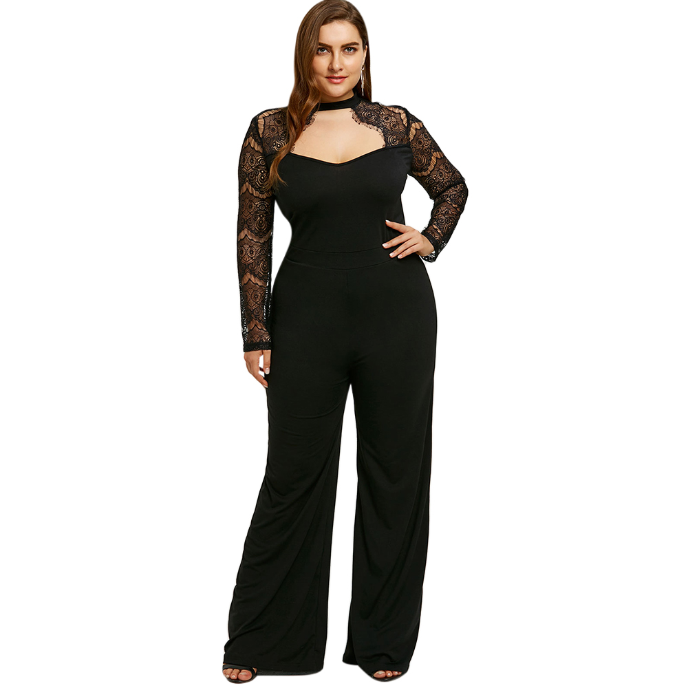 Detail Feedback Questions about Gamiss Women Wide Leg Jumpsuit Plus Size  5XL Lace Sleeve Cut Out Jumpsuit Hollow Out Bodysuits High Waist Zipper Fly  Bottoms ... 88227609b8a4