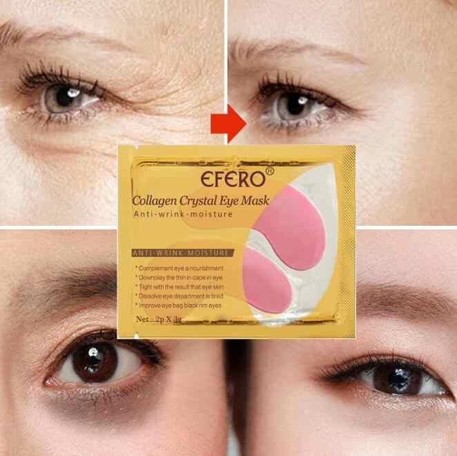 24K Altın Kristal Kollajen Göz Maskesi Göz Yamaları Göz Bakımı Koyu Halkalar Kaldırmak Anti-Aging Kırışıklık Karşıtı Cilt bakım