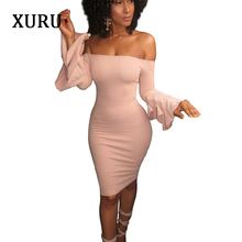 XURU Black Pink Burgundy Women Off Shoulder Dress Slash Neck Butterfly Sleeve Solid Bodycon Dresses Lady Party High Street