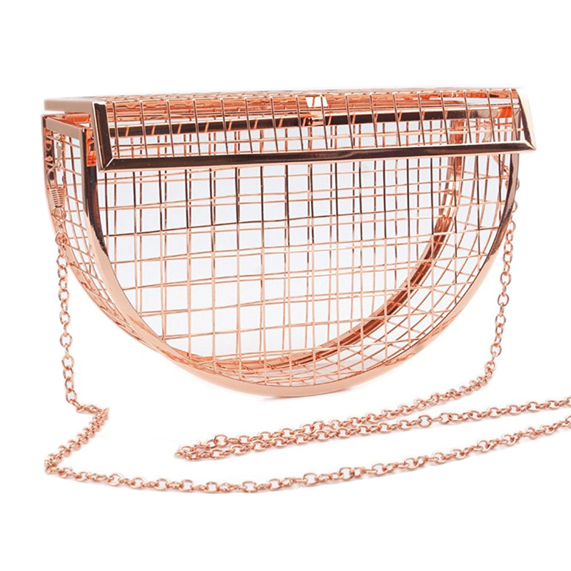Womens Chain Crossbody Bags Metal Clutch Hollow Out Cage Bag Unique Female Evening Bags Party Wedding Clutch Purse